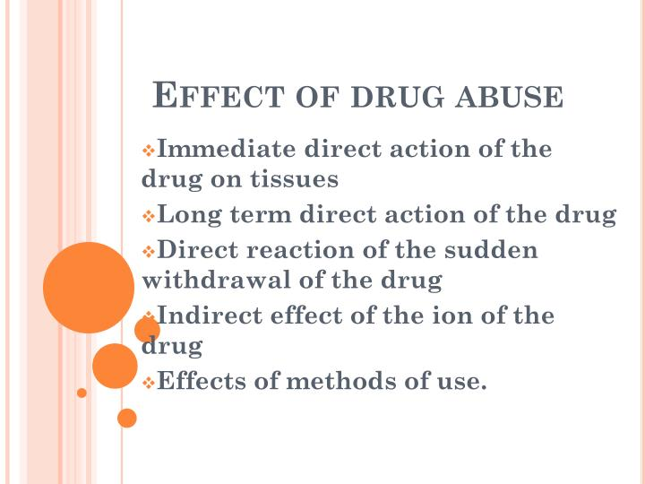 Effect of drug abuse
