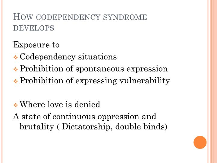 How codependency syndrome develops