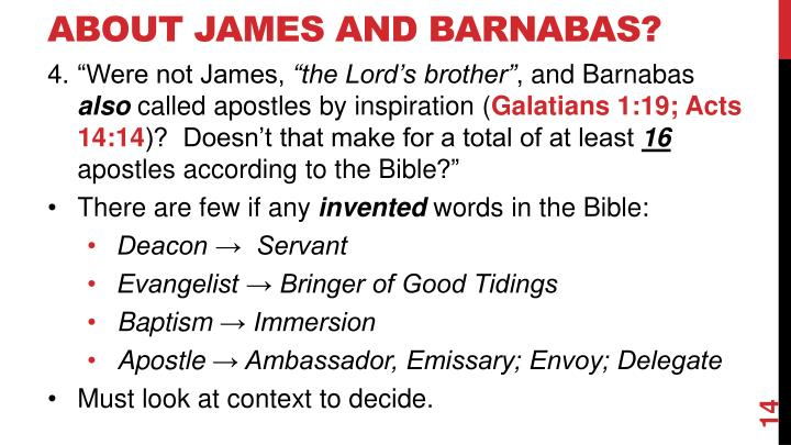 about James and Barnabas?