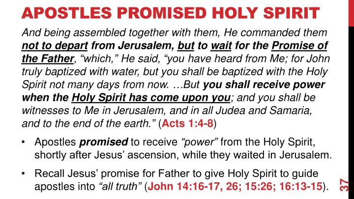 Apostles Promised Holy Spirit