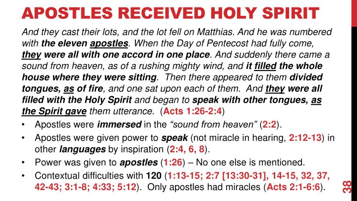 Apostles Received Holy Spirit