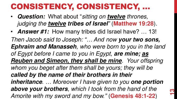 Consistency, Consistency, …