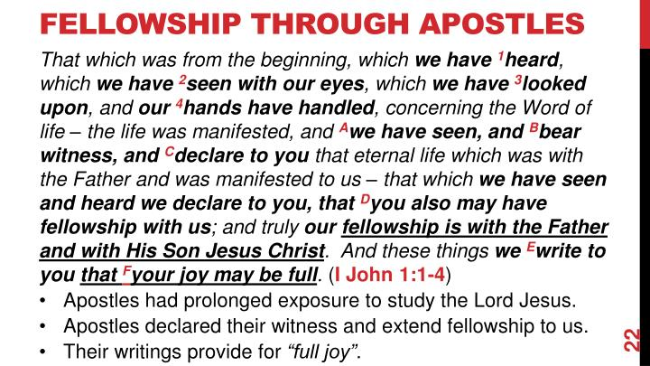 Fellowship Through Apostles