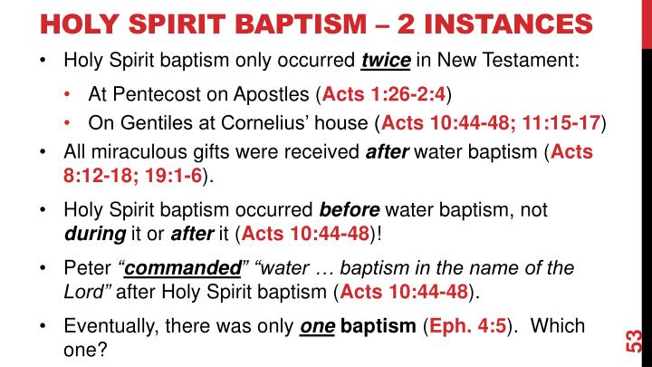 Holy Spirit Baptism – 2 Instances