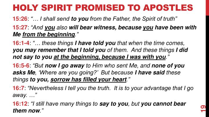 Holy Spirit Promised to Apostles