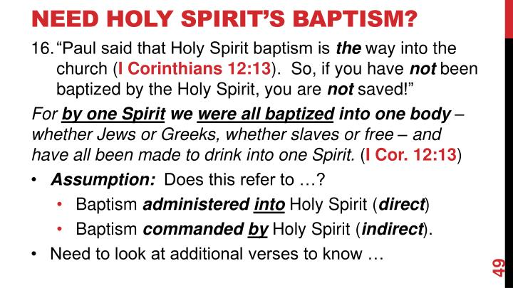 Need Holy spirit's Baptism?
