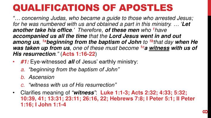 Qualifications of Apostles
