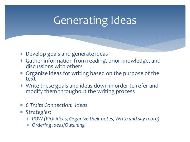 Generating Ideas