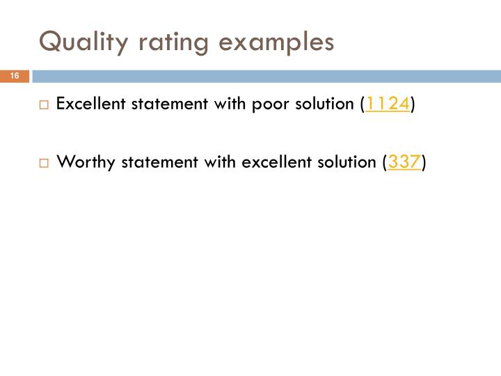 Quality rating examples