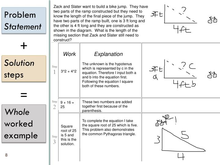 Zack and Slater want to build a bike jump.  They have two parts of the ramp constructed but they need to know the length of the final piece of the jump.  They have two parts of the ramp built, one is 3 ft long and the other is 4 ft long and they are constructed as shown in the diagram.  What is the length of the missing section that Zack and Slater still need to construct?