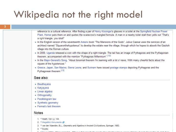 Wikipedia not the right model
