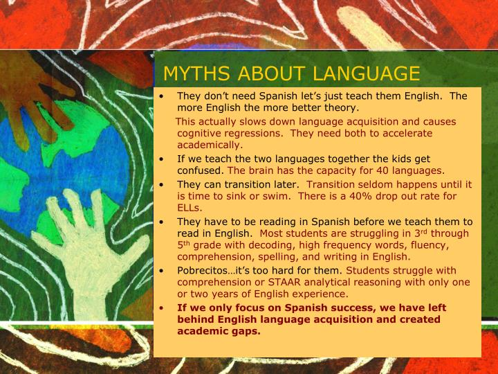MYTHS ABOUT LANGUAGE