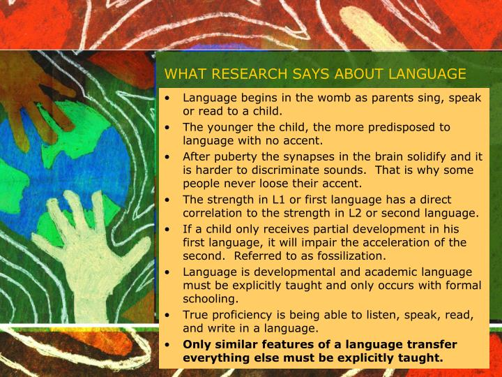 WHAT RESEARCH SAYS ABOUT LANGUAGE