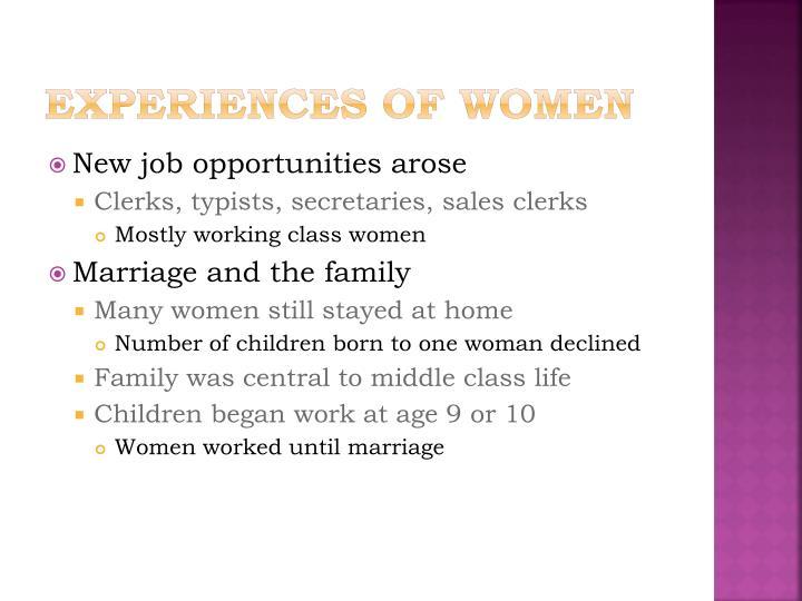 Experiences of Women