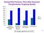 among pilot practices there was structural transformation targeting quality