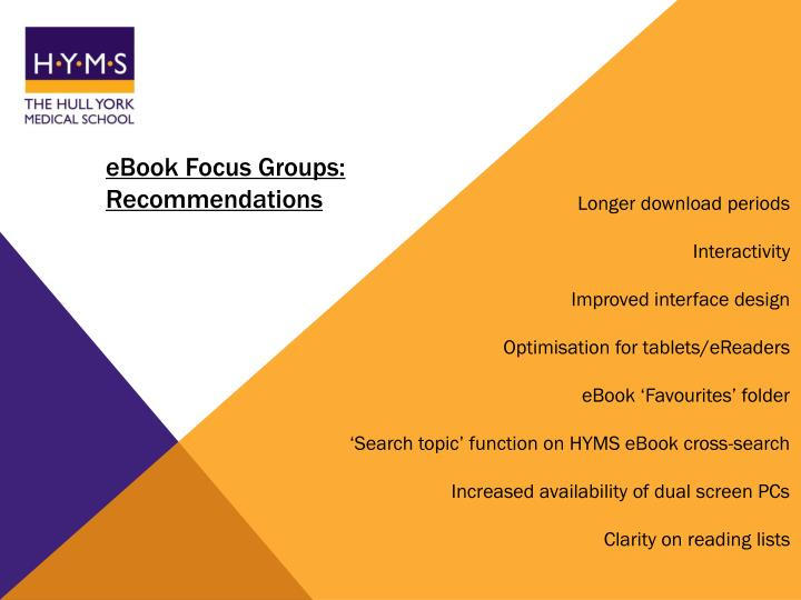 eBook Focus Groups: