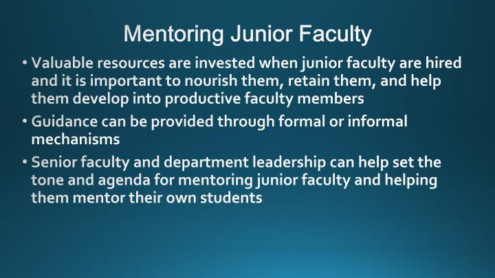 Mentoring Junior Faculty
