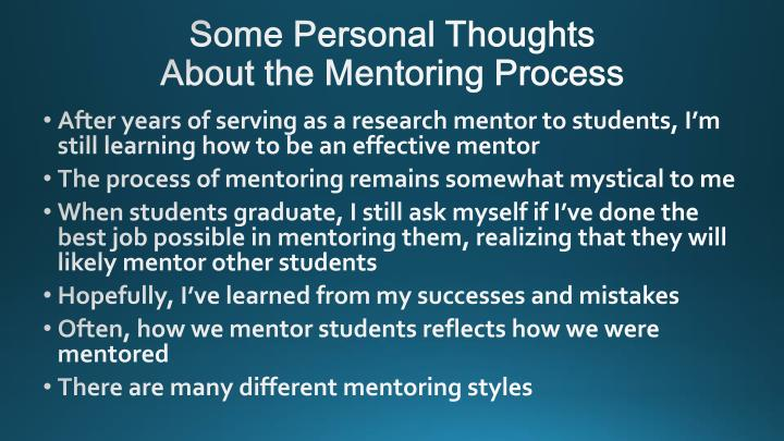 Some personal thoughts about the mentoring process
