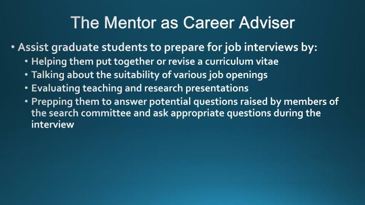 The Mentor as Career Adviser