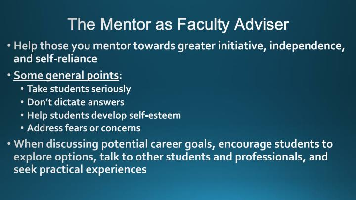 The Mentor as Faculty Adviser