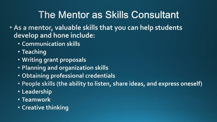 The Mentor as Skills Consultant