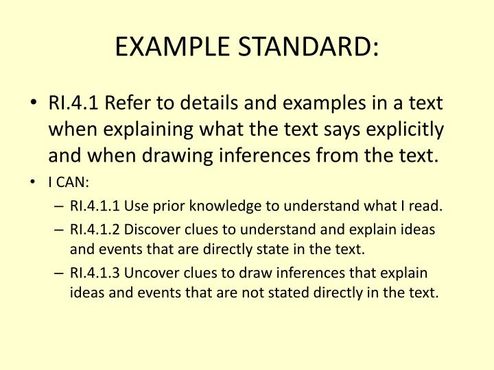 EXAMPLE STANDARD: