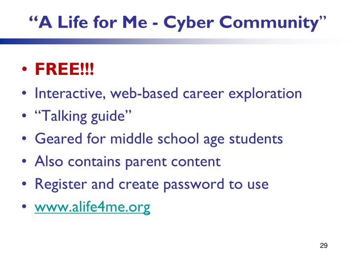 """A Life for Me - Cyber Community"