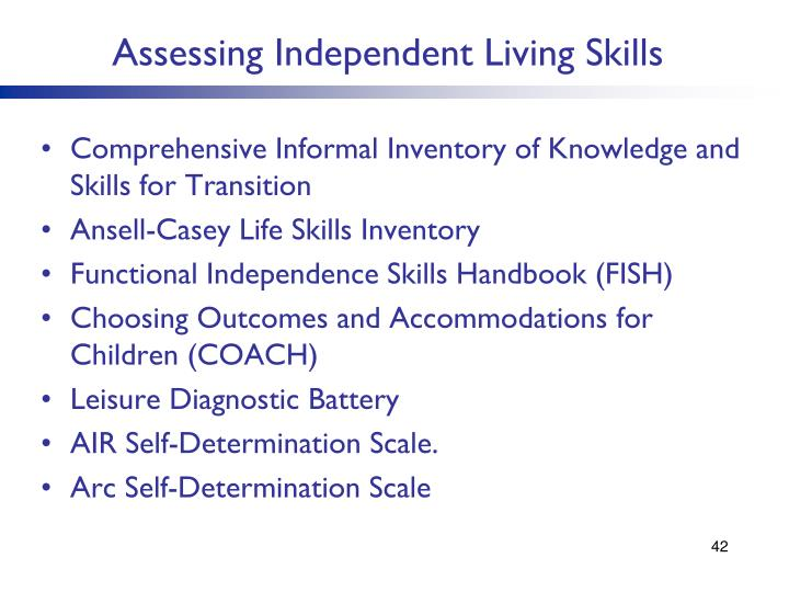 Assessing Independent Living Skills