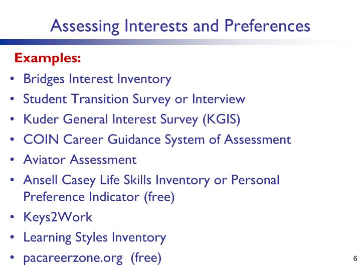 Assessing Interests and Preferences