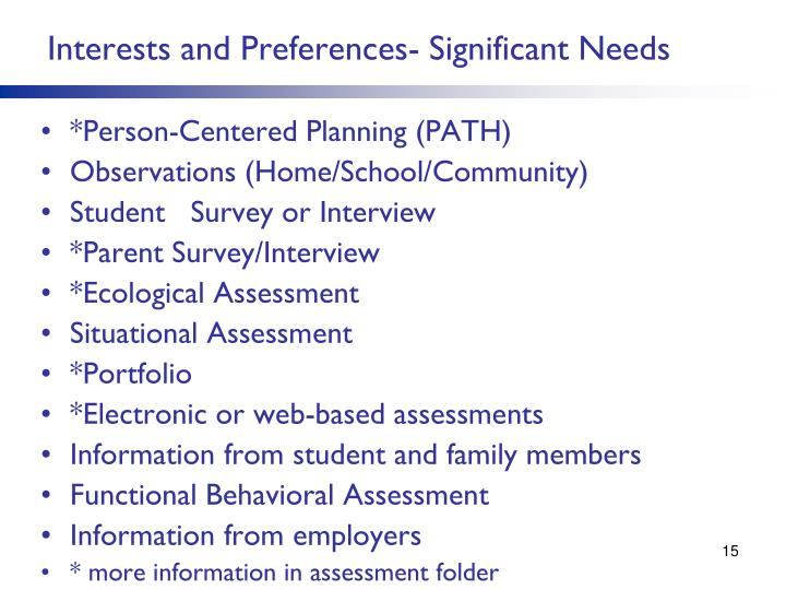 Interests and Preferences- Significant Needs