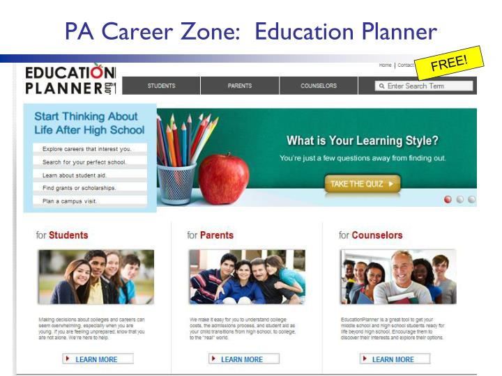 PA Career Zone:  Education Planner