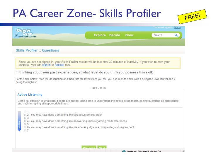 PA Career Zone- Skills Profiler