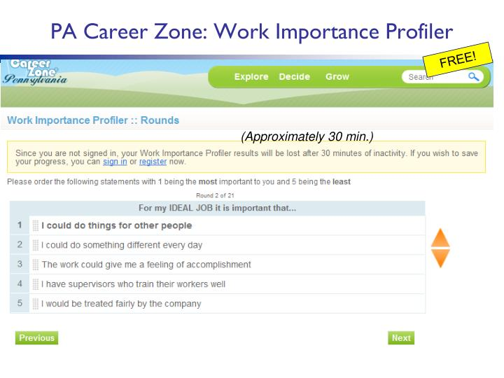 PA Career Zone: Work Importance Profiler