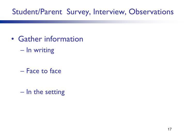Student/Parent  Survey, Interview, Observations