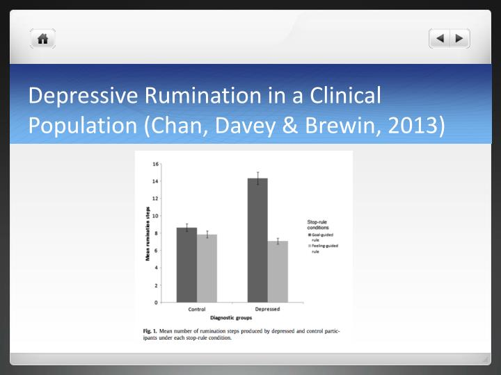 Depressive Rumination in a Clinical Population (Chan, Davey &