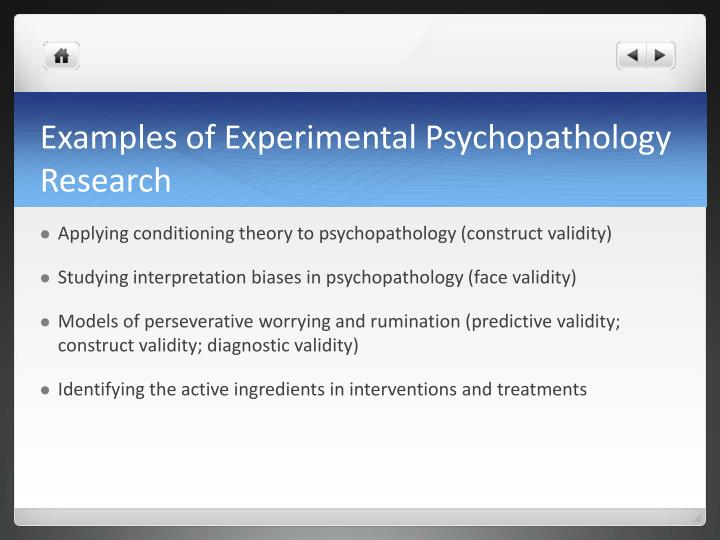 Examples of Experimental Psychopathology Research