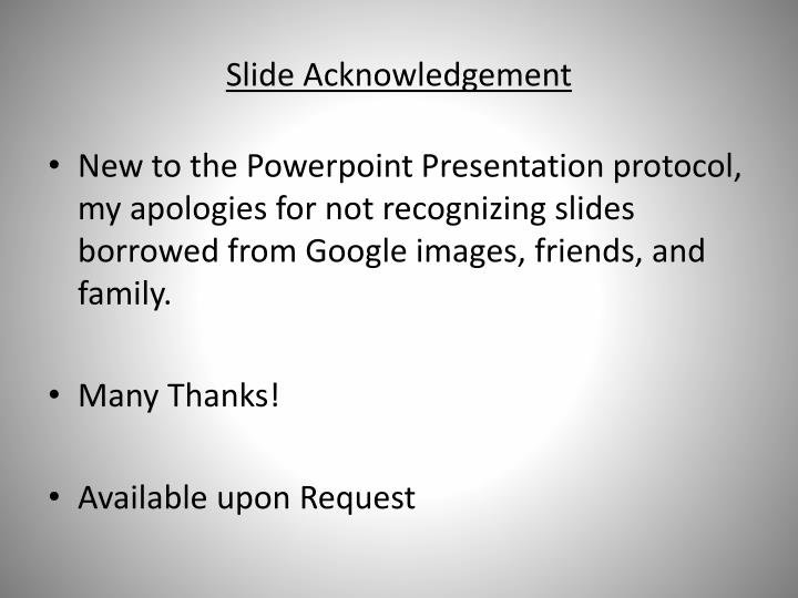 Slide Acknowledgement