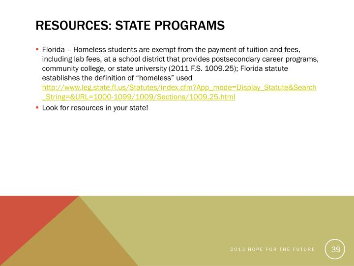 Resources: State Programs