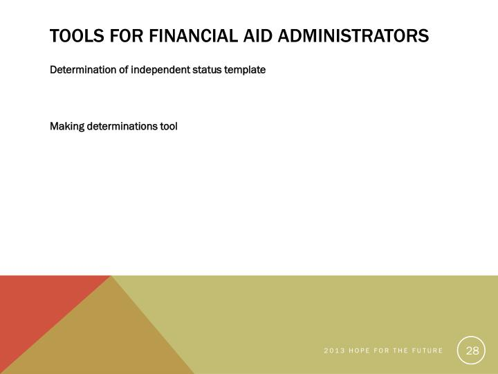 Tools for Financial Aid Administrators