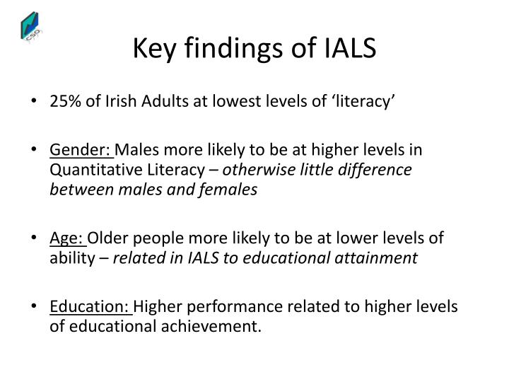 Key findings of IALS