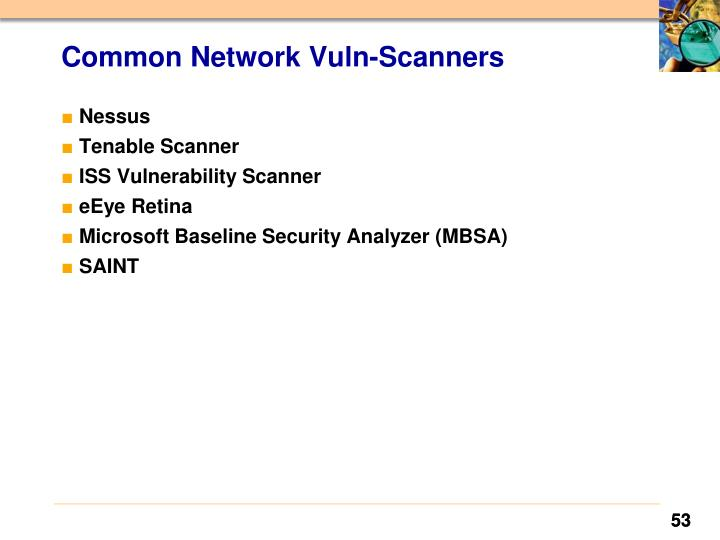 Common Network Vuln-Scanners