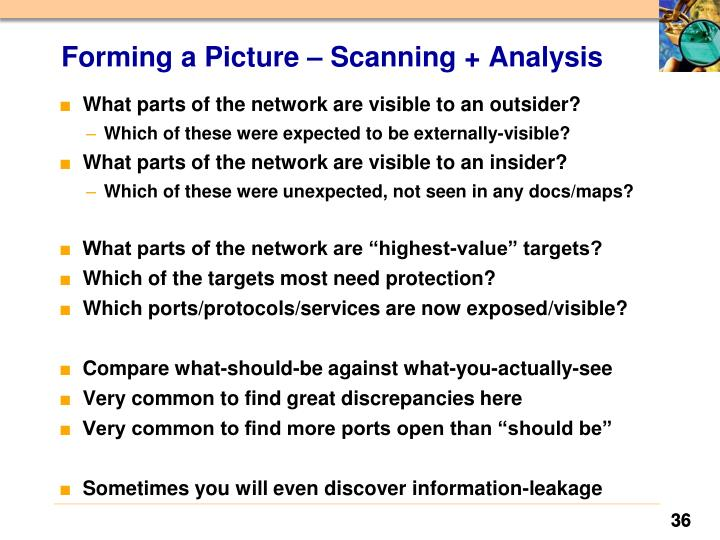 Forming a Picture – Scanning + Analysis