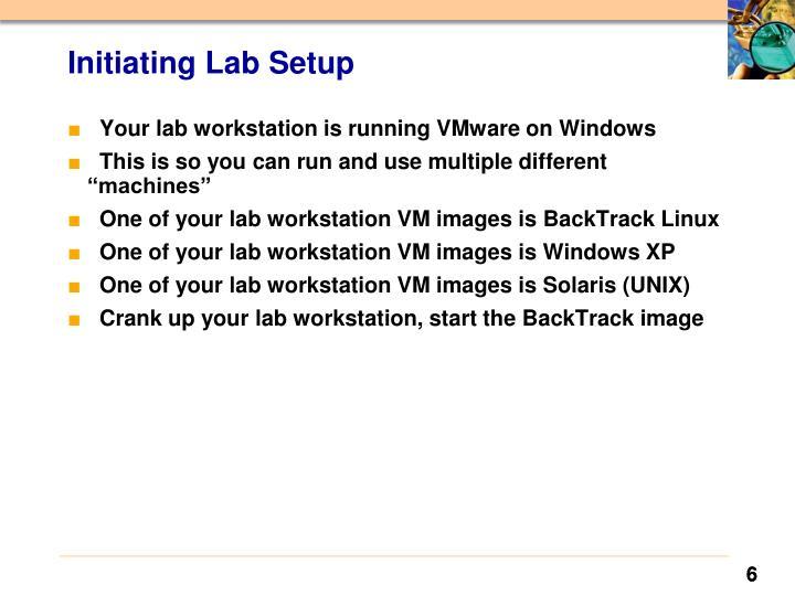 Initiating Lab Setup