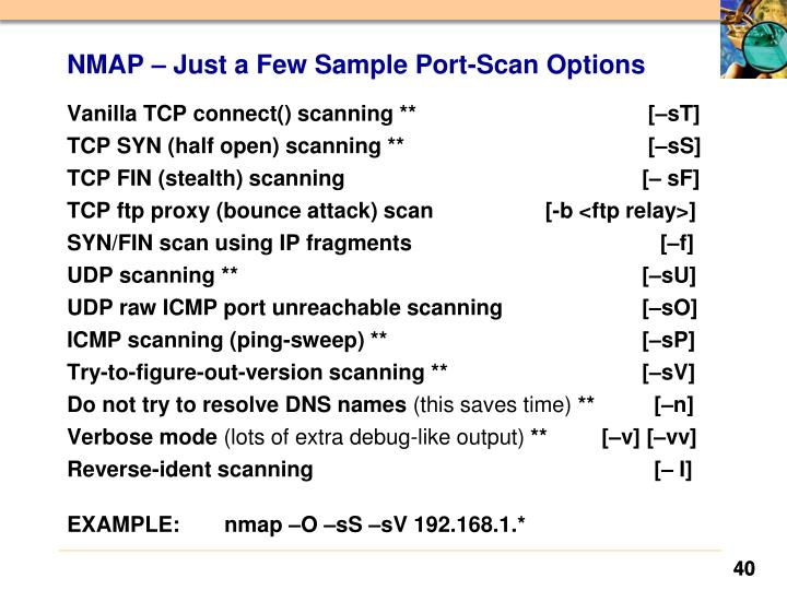 NMAP – Just a Few Sample Port-Scan Options