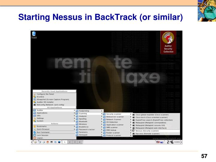 Starting Nessus in BackTrack (or similar)