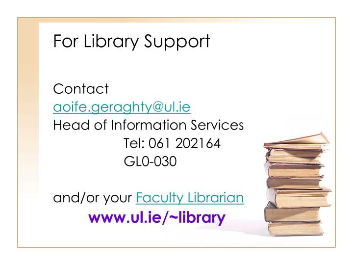 For Library Support