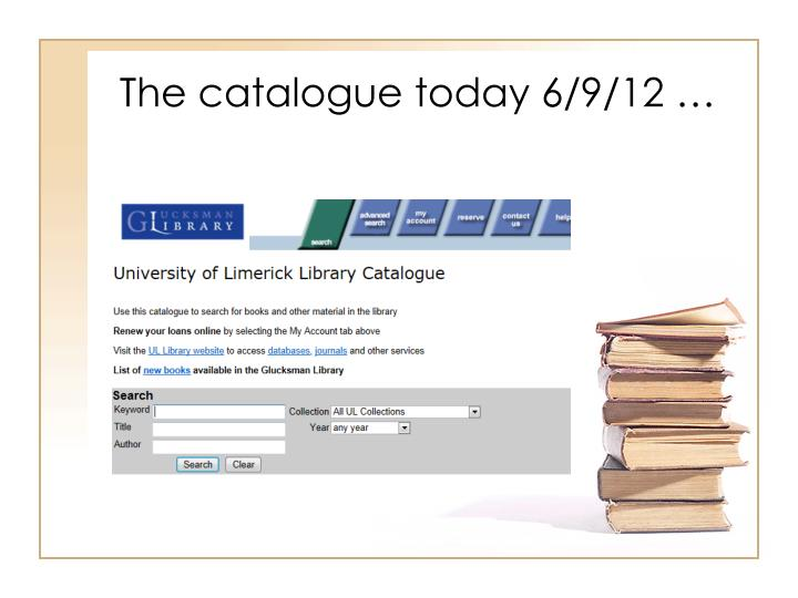The catalogue today 6/9/12 …