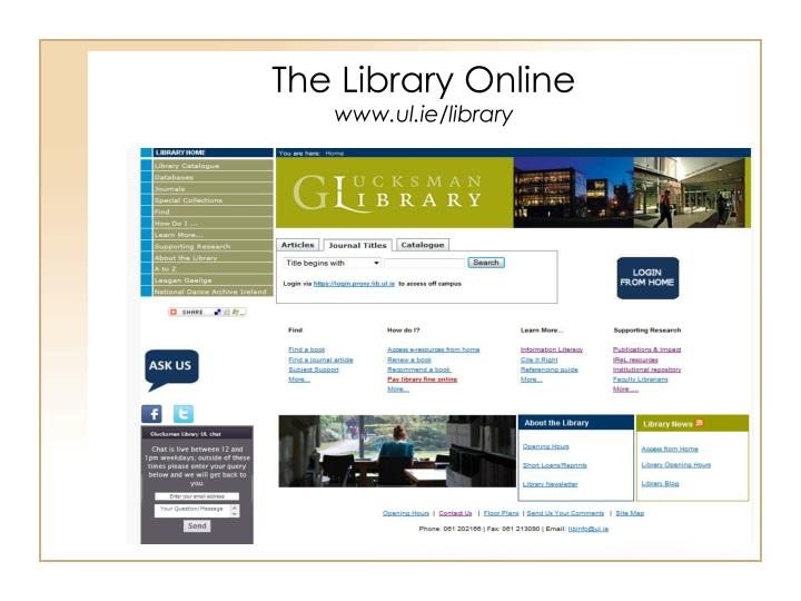 The library online www ul ie library