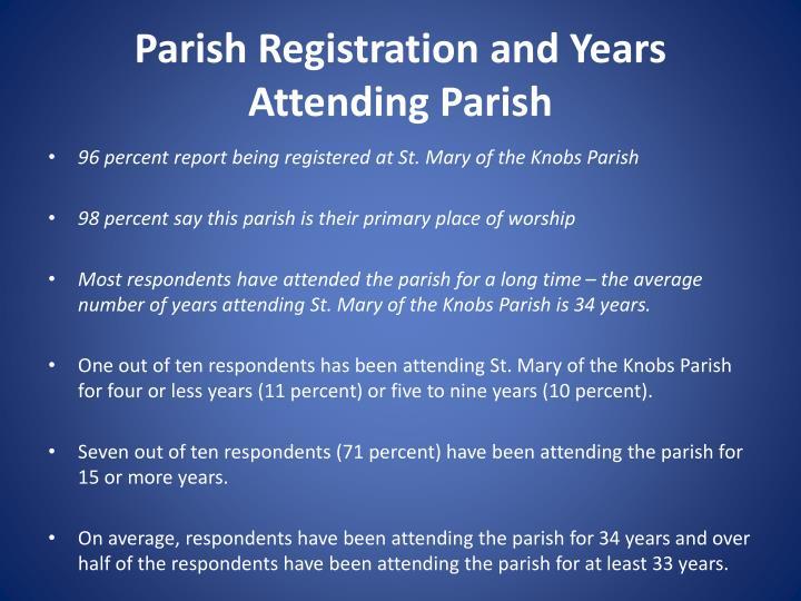 Parish Registration and Years Attending Parish