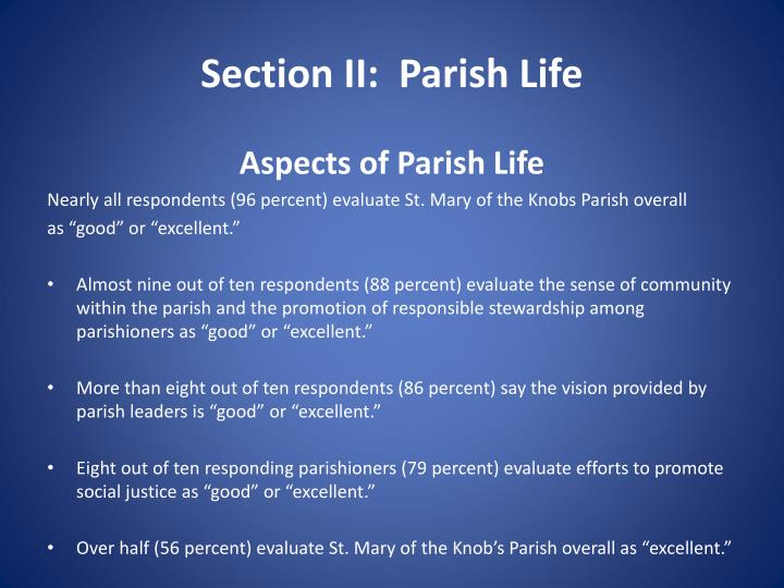 Section II:  Parish Life